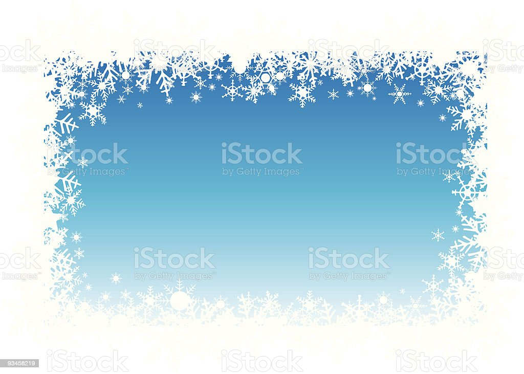 snow flakes holiday border vector art illustration