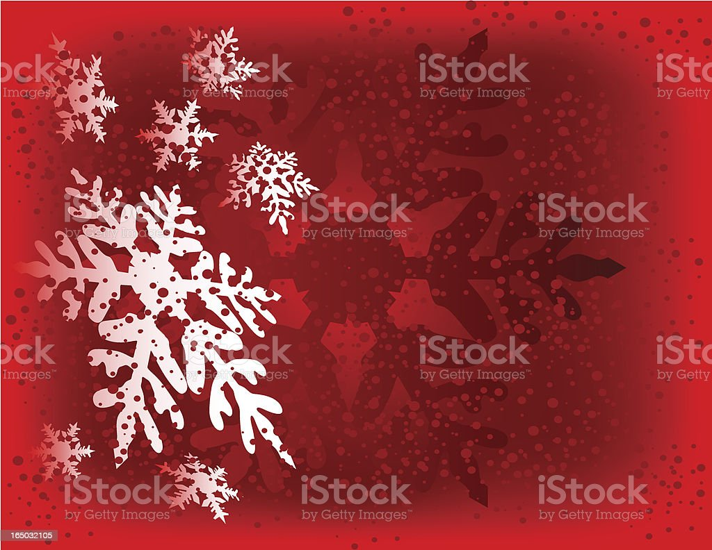 Snow Flakes Red Background - Vector royalty-free stock vector art