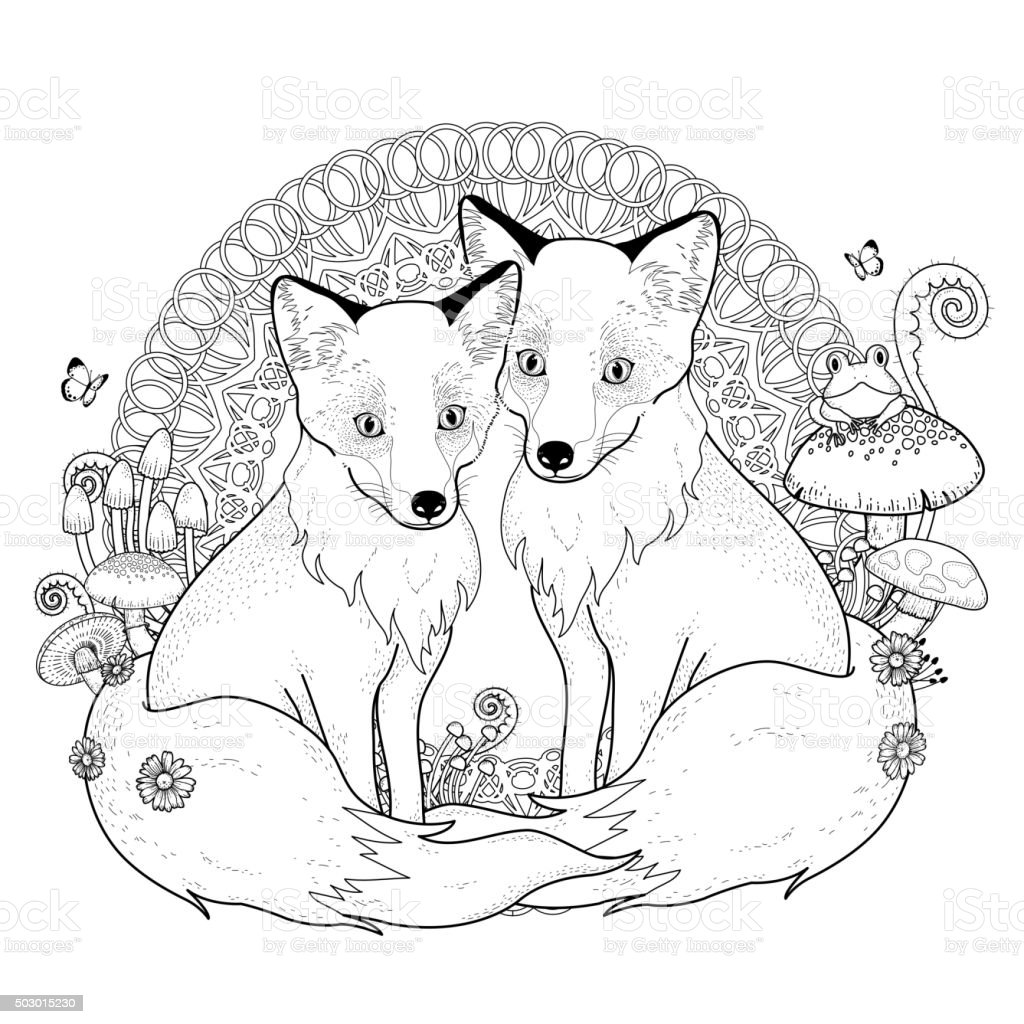 snow fox coloring page vector art illustration
