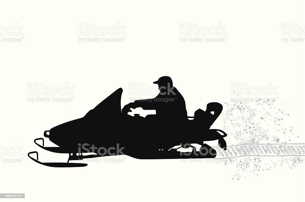 Snow Fun Vector Silhouette vector art illustration