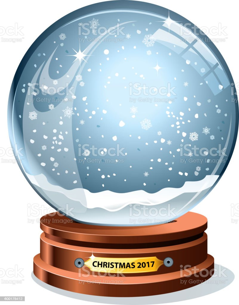 snow globe 2017 vector art illustration
