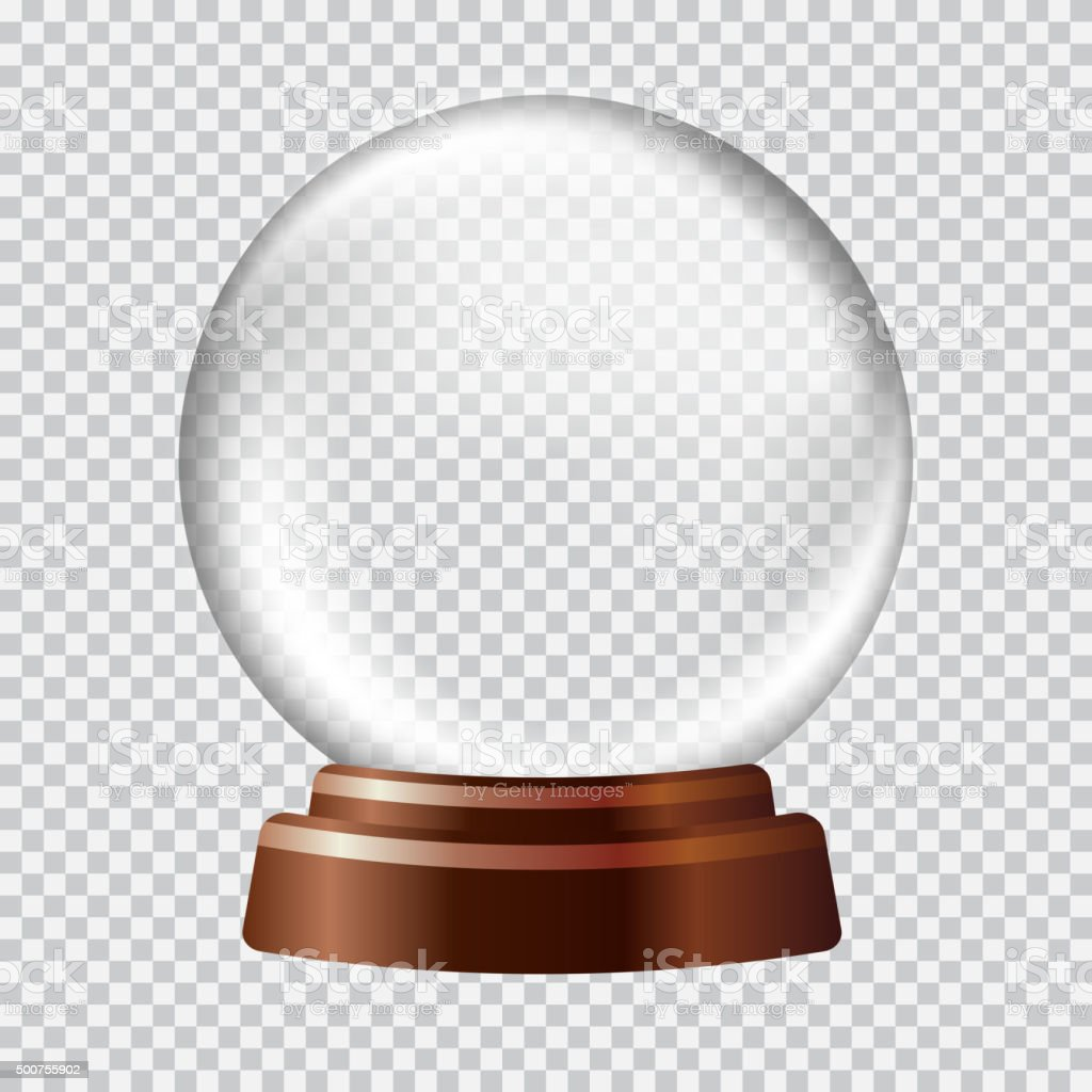 Snow globe. Big white transparent glass sphere on a stand vector art illustration
