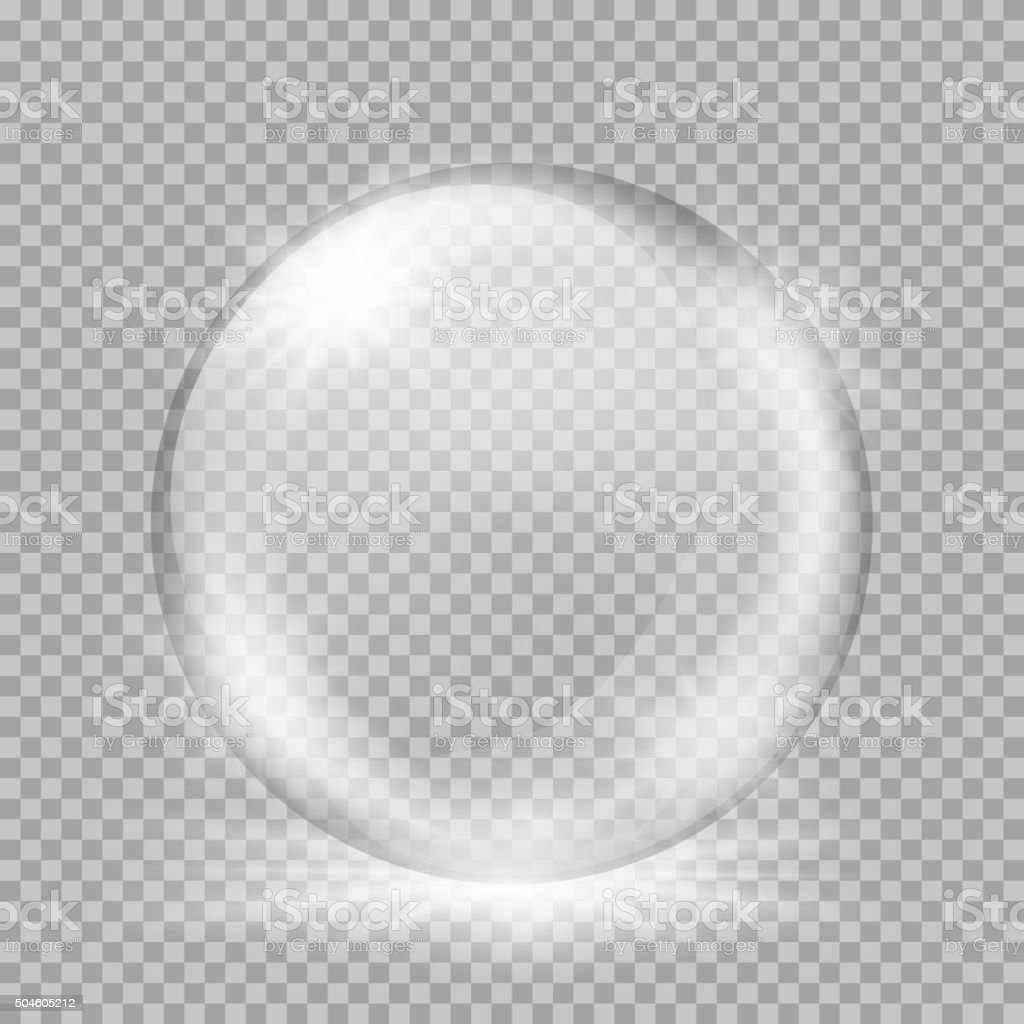 Snow globe. Big white transparent glass sphere with glares and vector art illustration