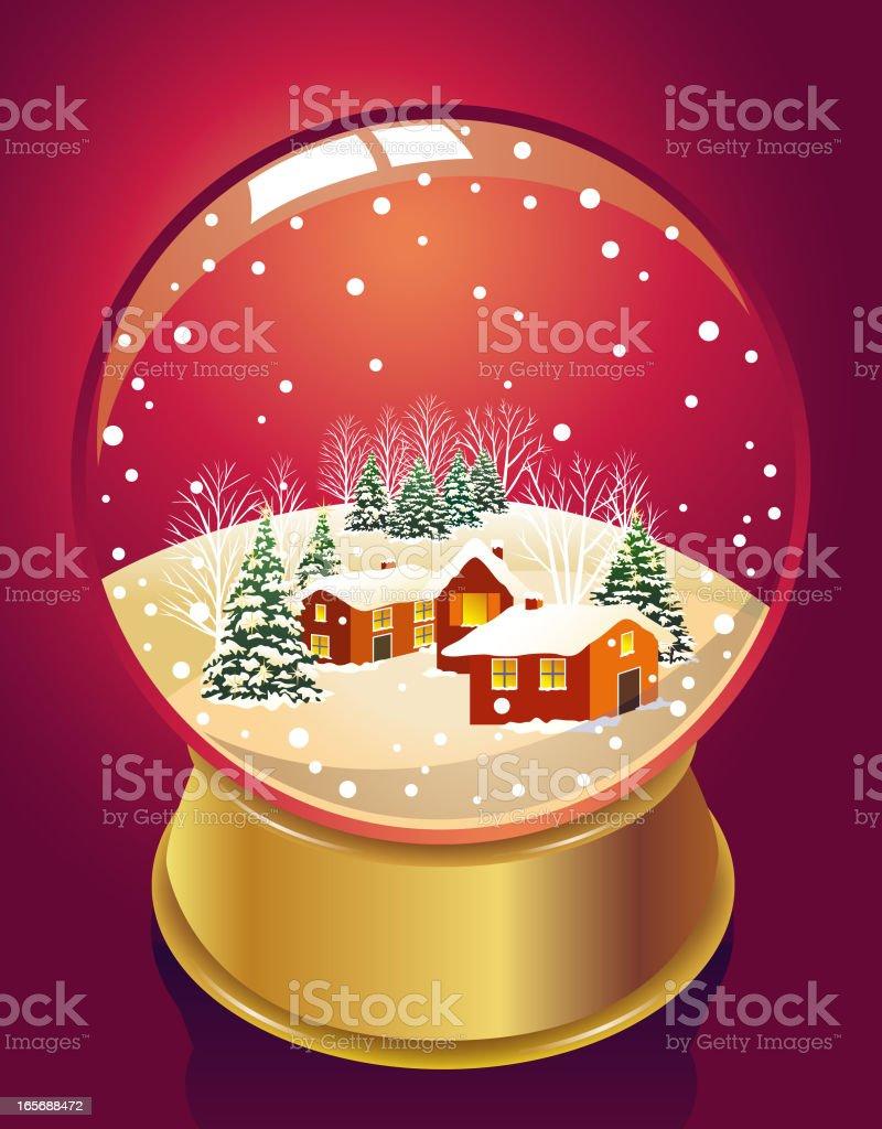 Snow Globe - Farm House royalty-free stock vector art