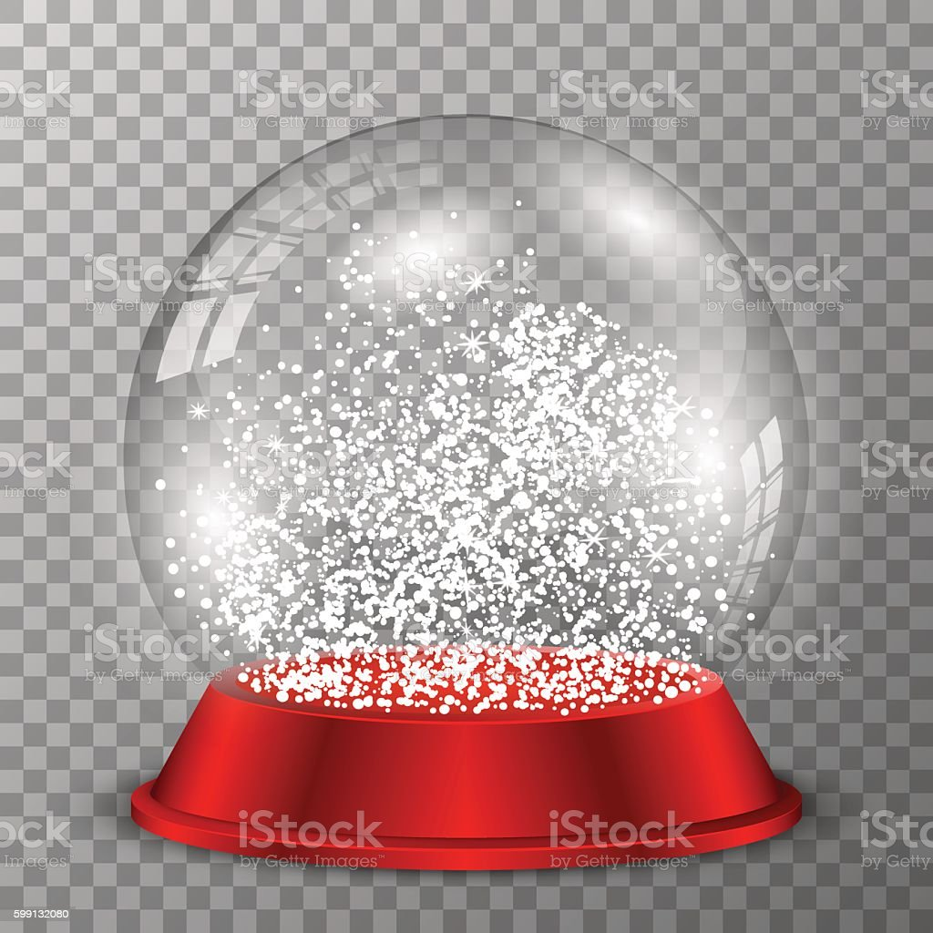 Snow globe on red stand. Crystal ball on transparent background. vector art illustration