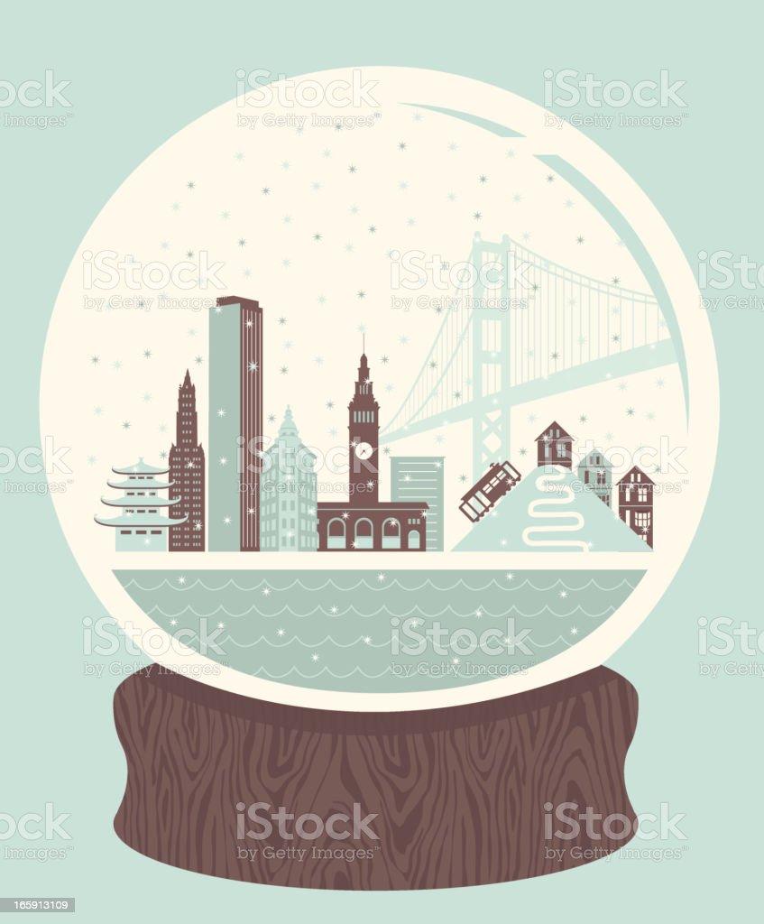 Snow Globe San Francisco vector art illustration