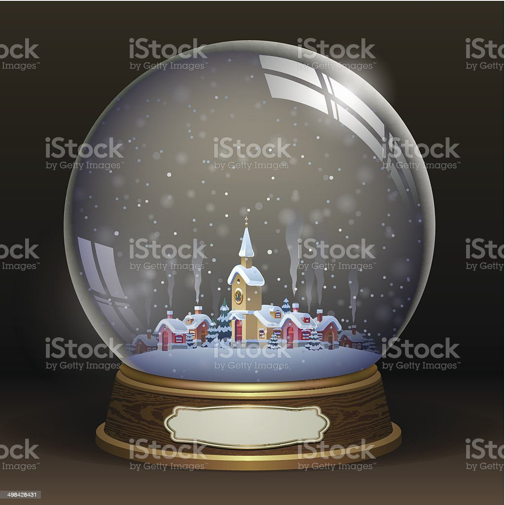 Snow globe with a town, vector illustration vector art illustration