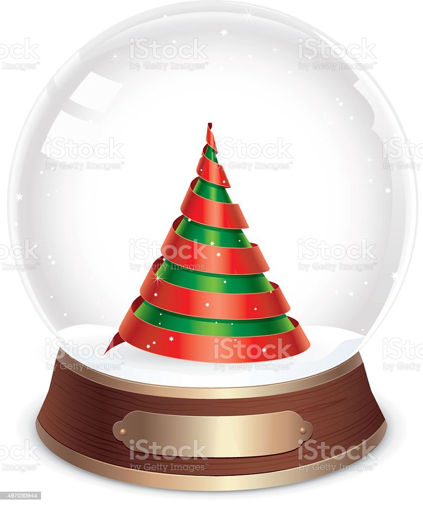 Snow globe with Christmas tree inside made from spiralled ribbons vector art illustration