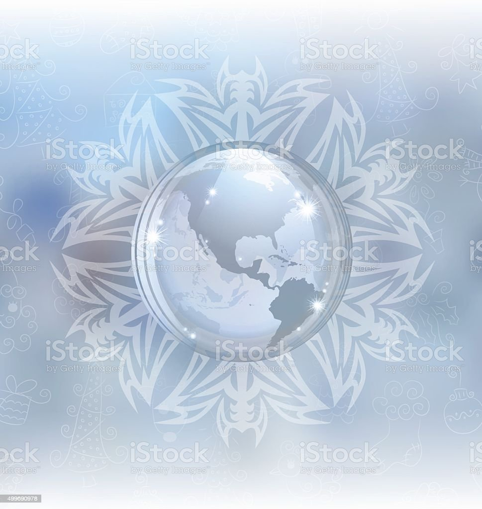 Snow globe with map vector art illustration