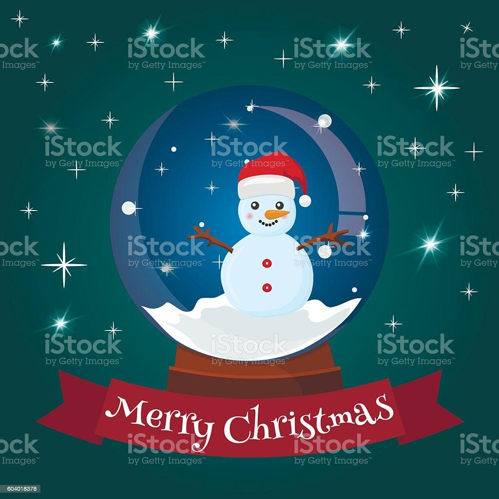 Snow globe with mountain ski area happy holidays greeting card vector art illustration