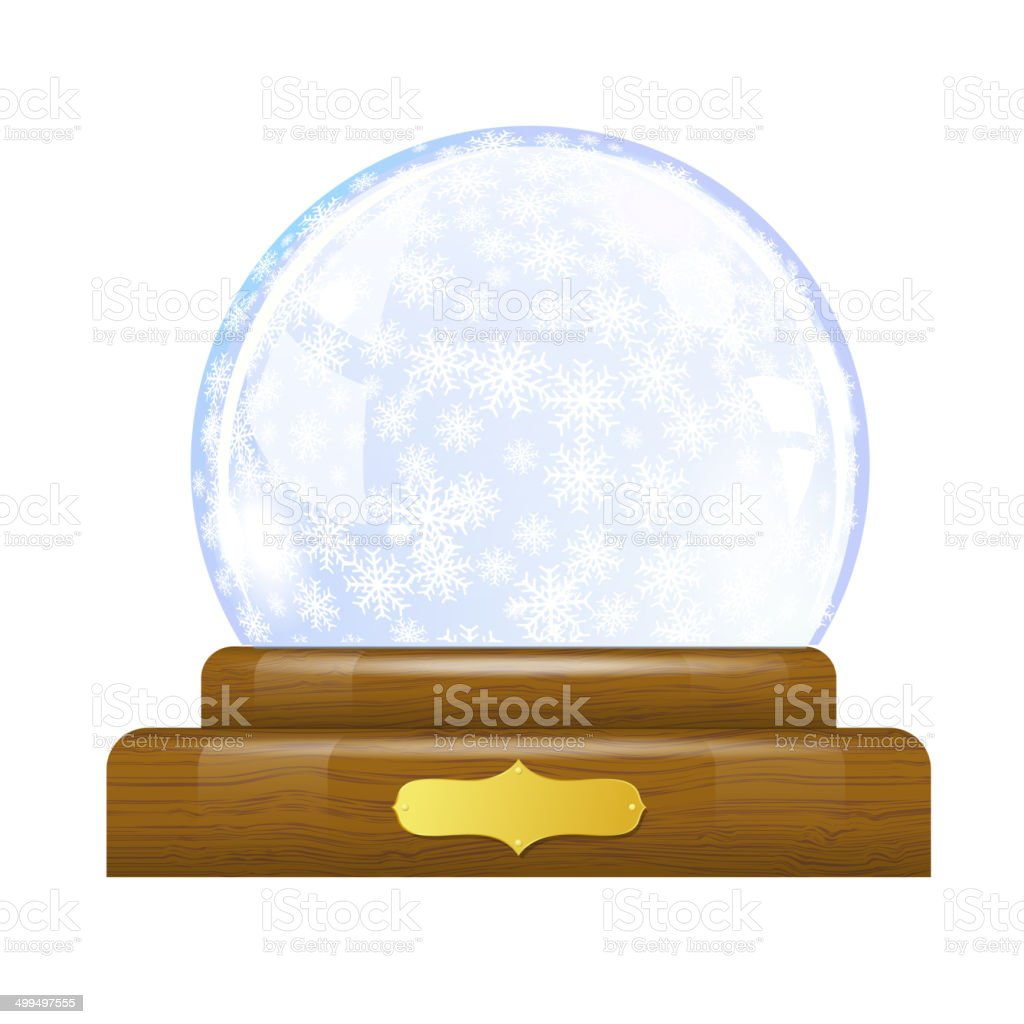 Snow globe with snowflakes royalty-free stock vector art