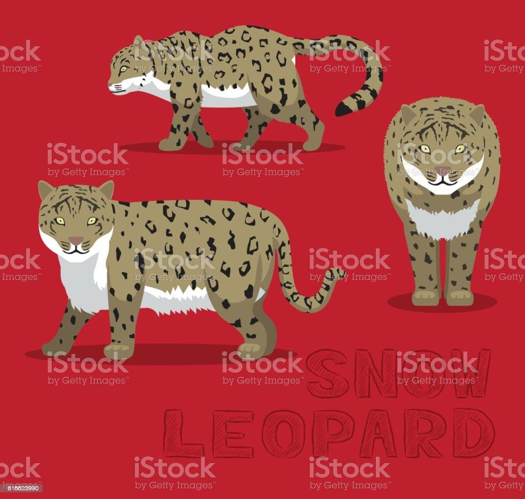 Snow Leopard Cartoon Vector Illustration vector art illustration
