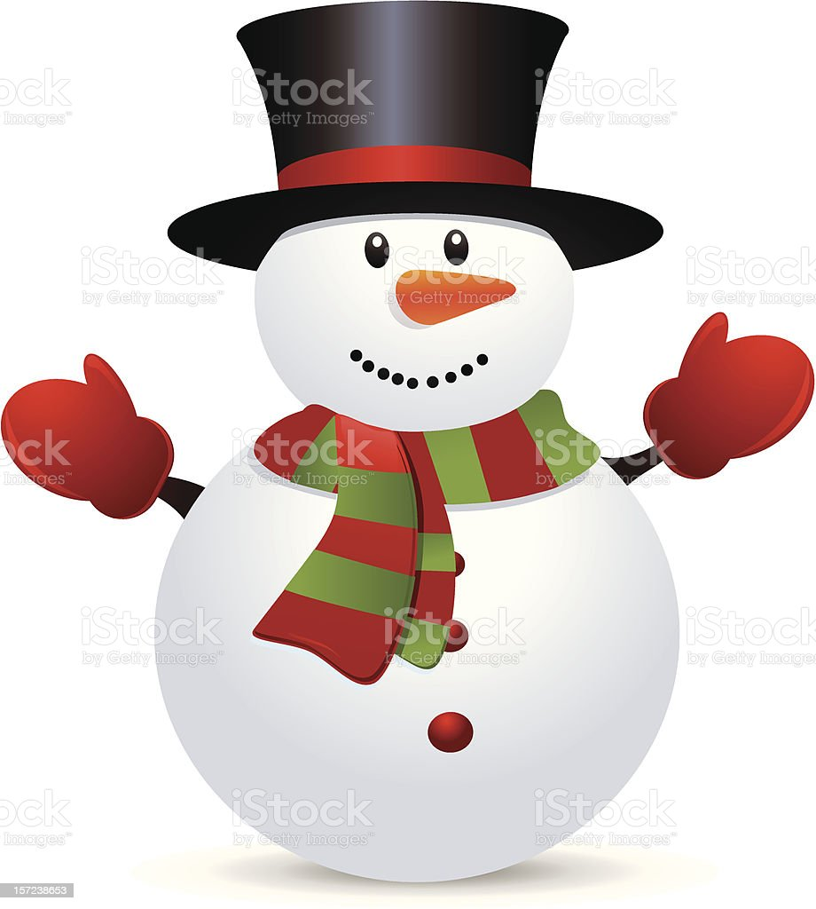 Snow Man vector art illustration