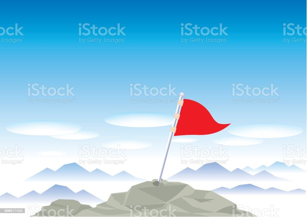 Snow mountains top with flag vector art illustration