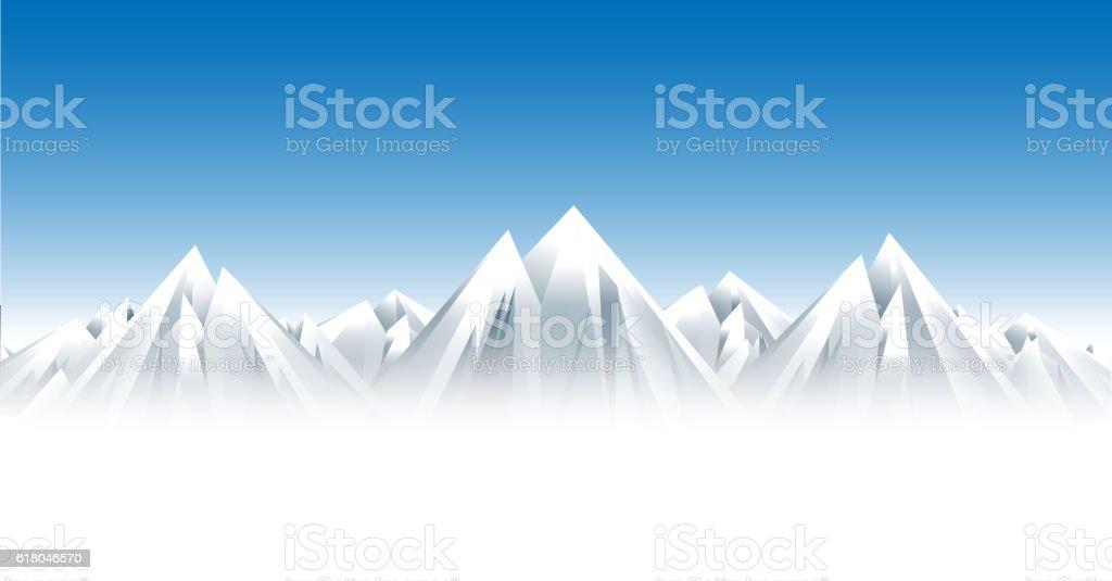 Snow mountains vector art illustration