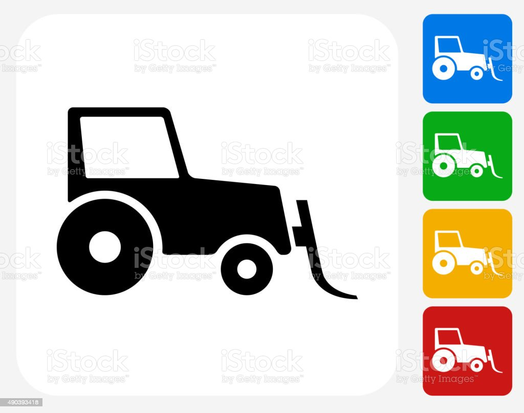 Snow Mover Tractor Icon Flat Graphic Design vector art illustration