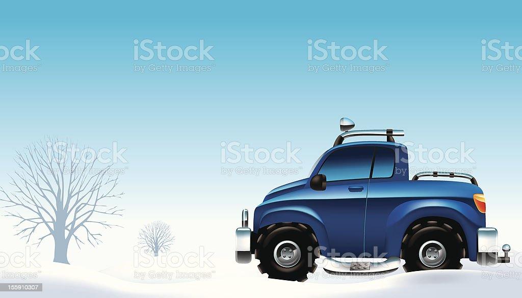 snow pick-up truck vector art illustration