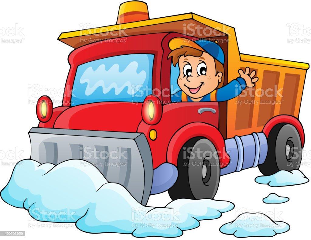 Snow plough theme image 1 vector art illustration