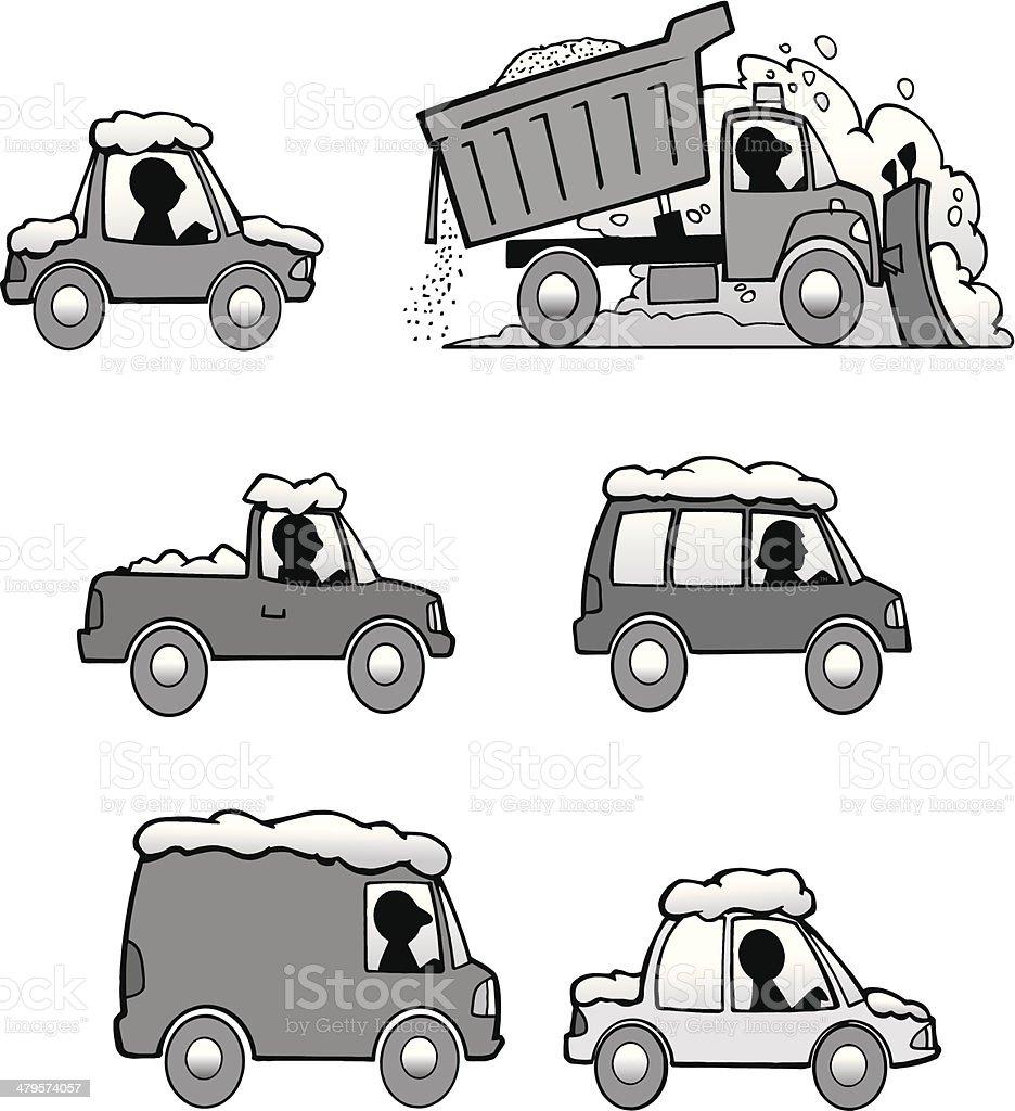 Snow Plow Cars vector art illustration