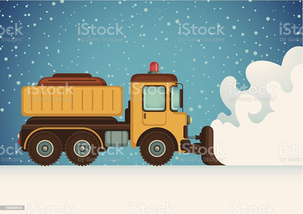 Snow plow truck vector art illustration