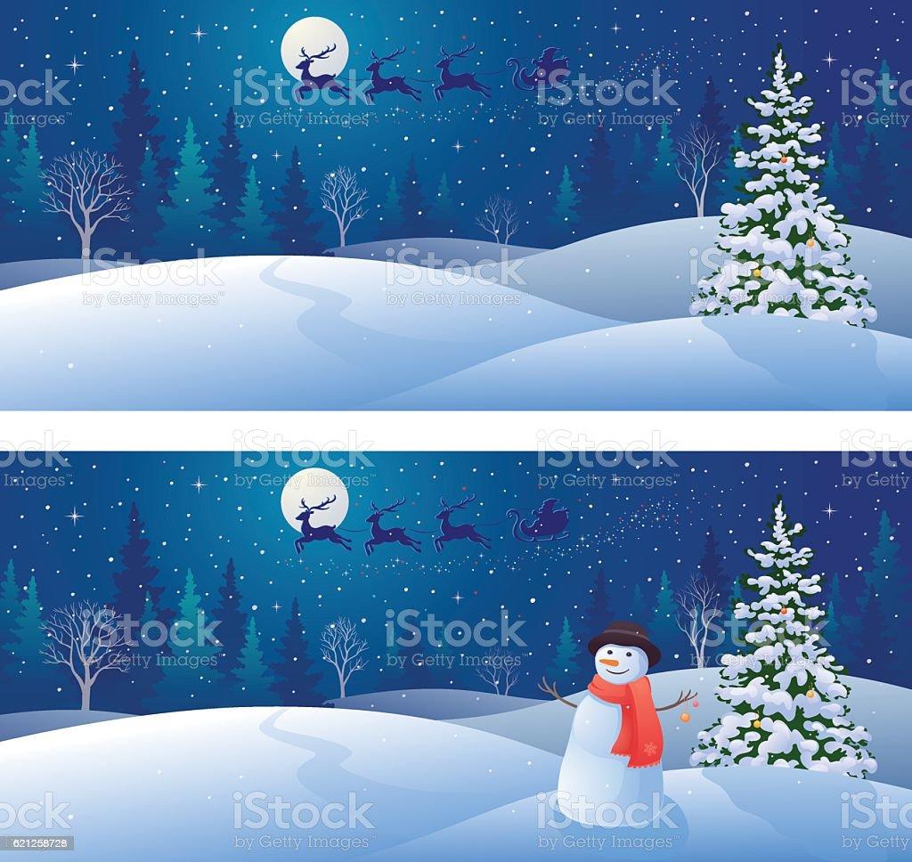 Snow scene backgrounds vector art illustration