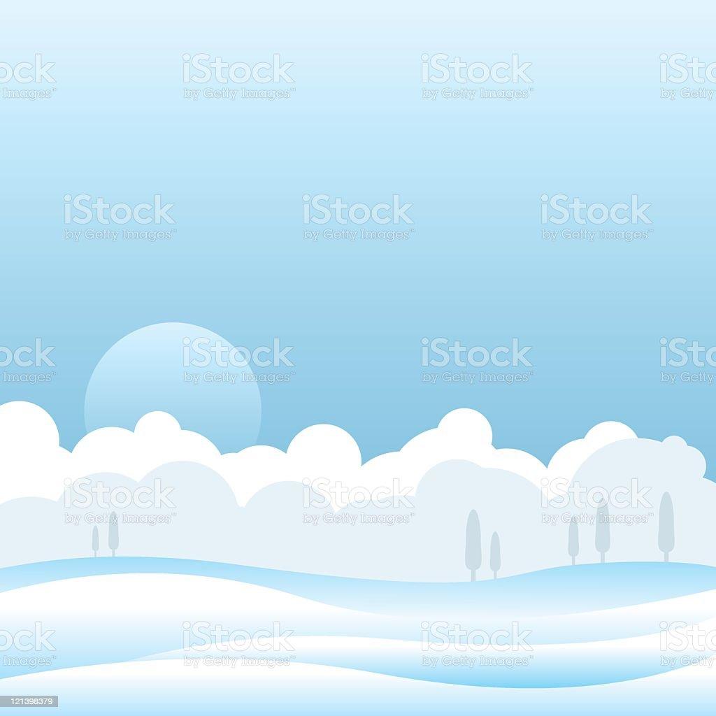 Snow Scene vector art illustration