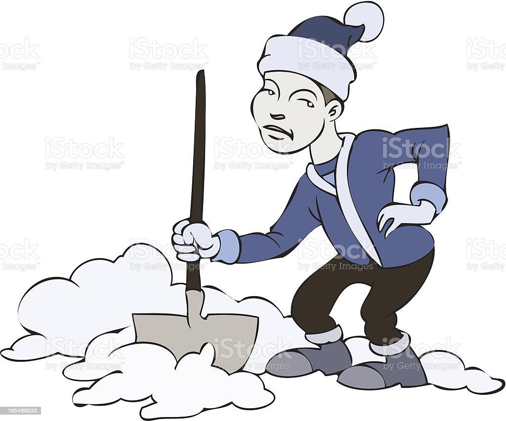 Snow Shovel Backache royalty-free stock vector art