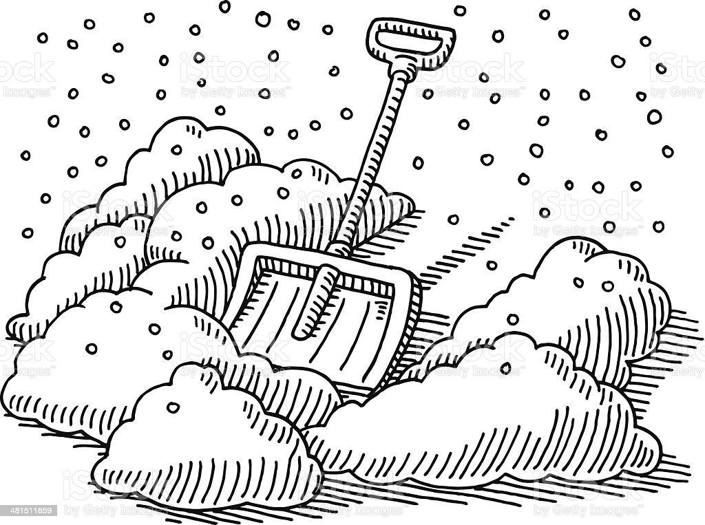 Snow Shovel Winter Drawing vector art illustration
