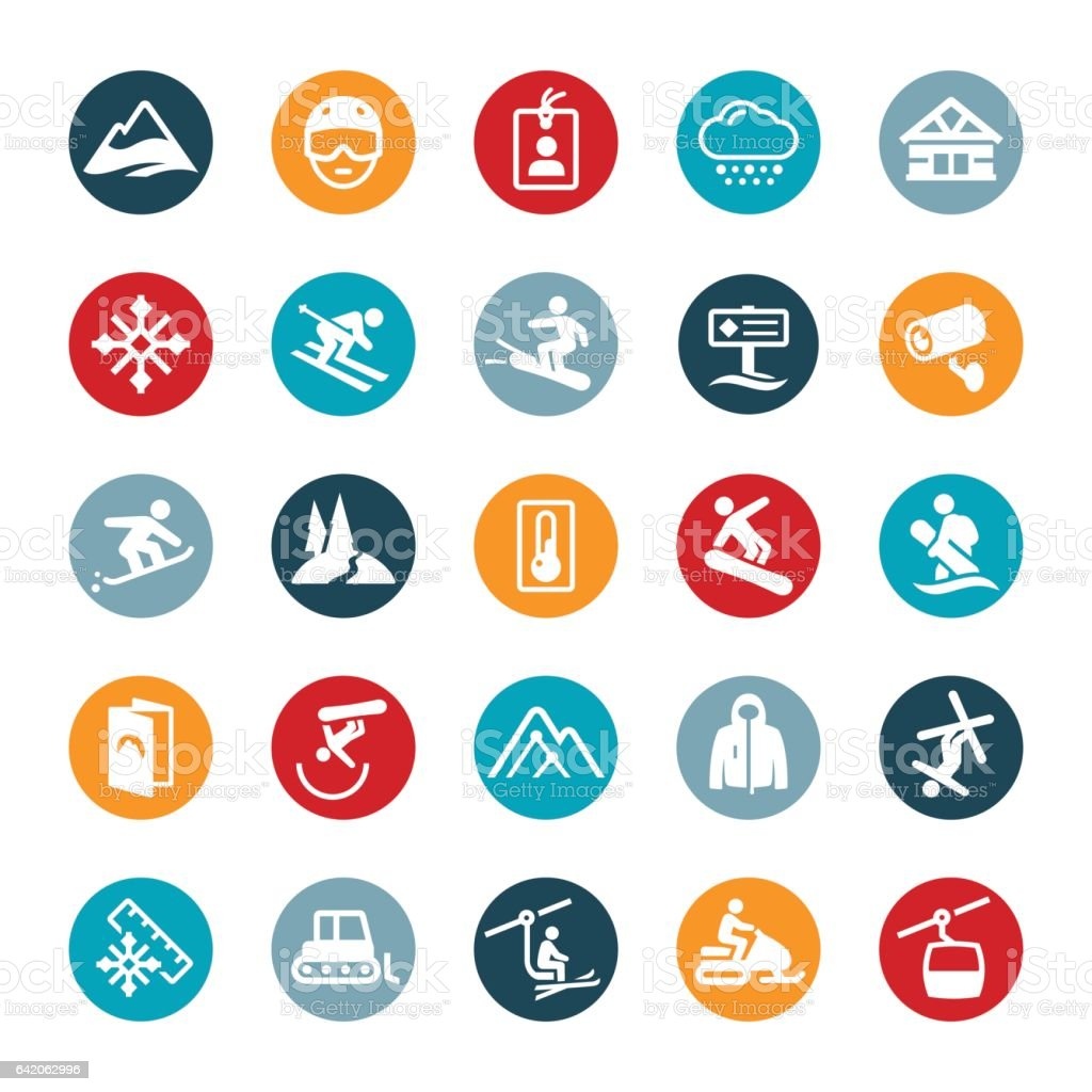 Snow Skiing and Snowboarding Icons vector art illustration