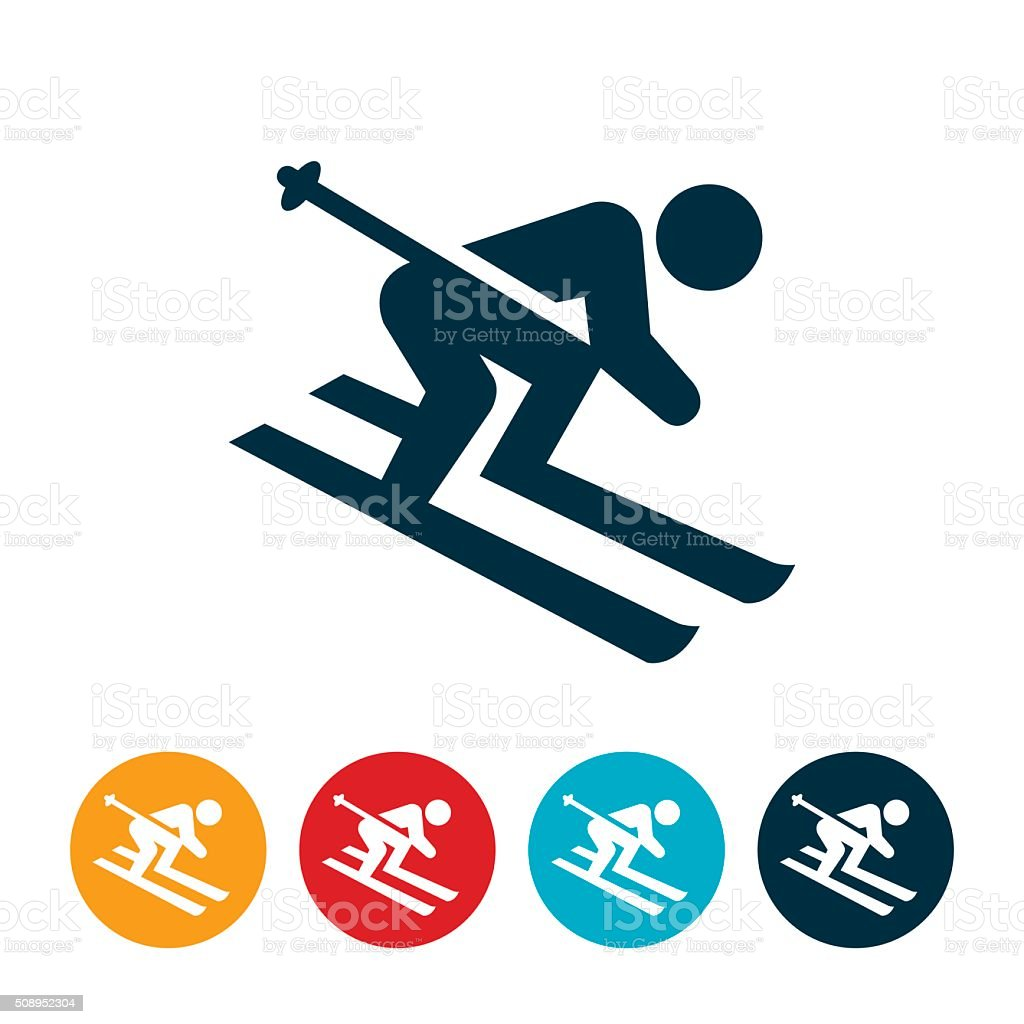 Snow Skiing Icon vector art illustration