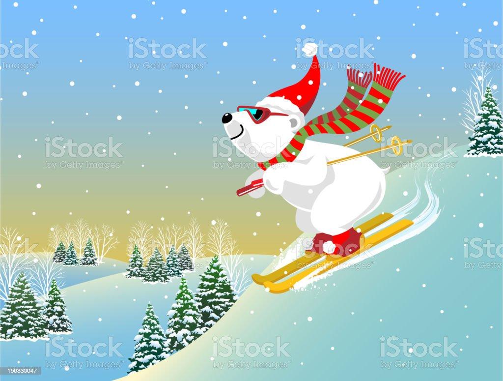 Snow Skiing Polar Bear royalty-free stock vector art