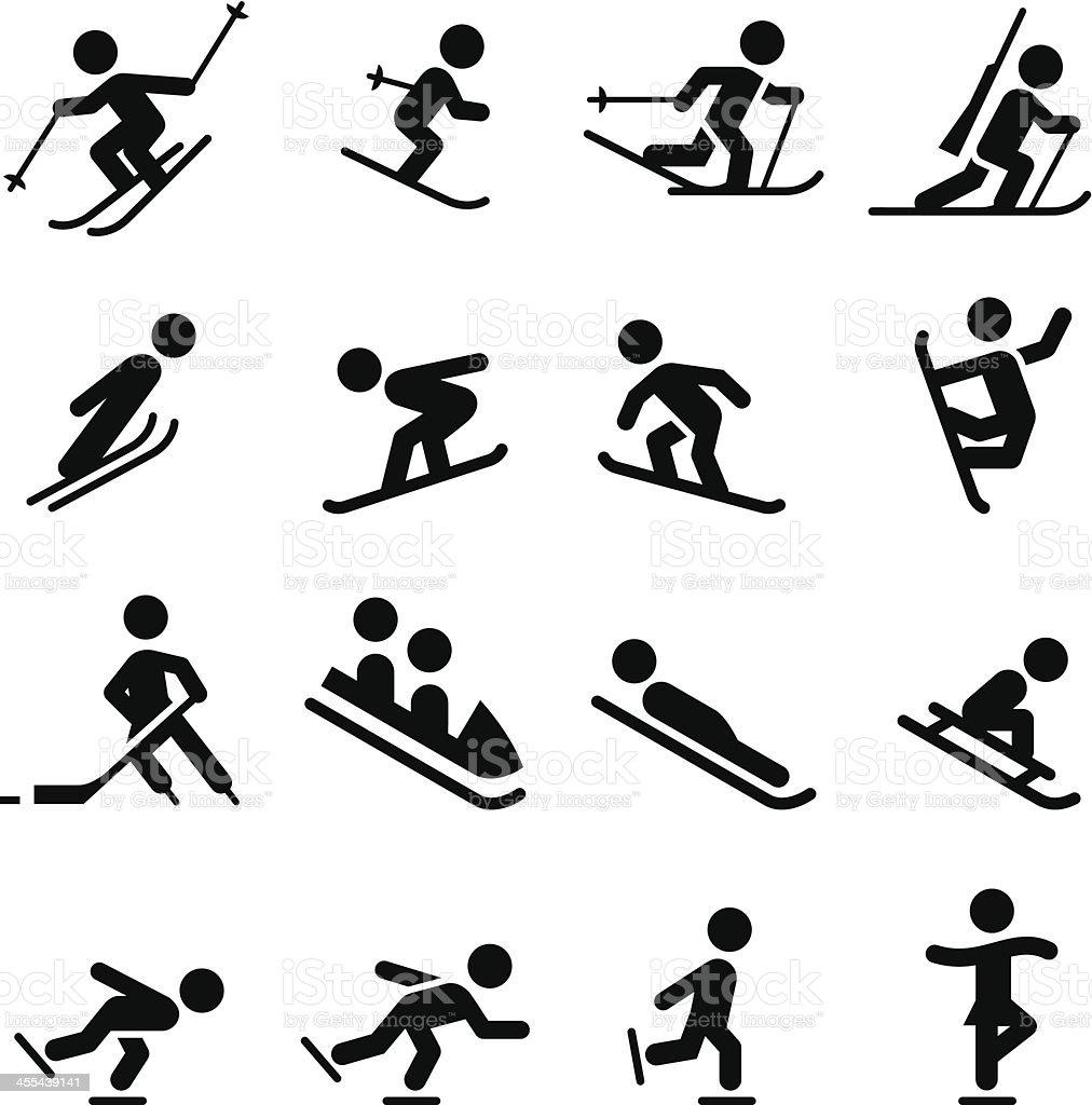 Snow Sports Icons - Black Series vector art illustration