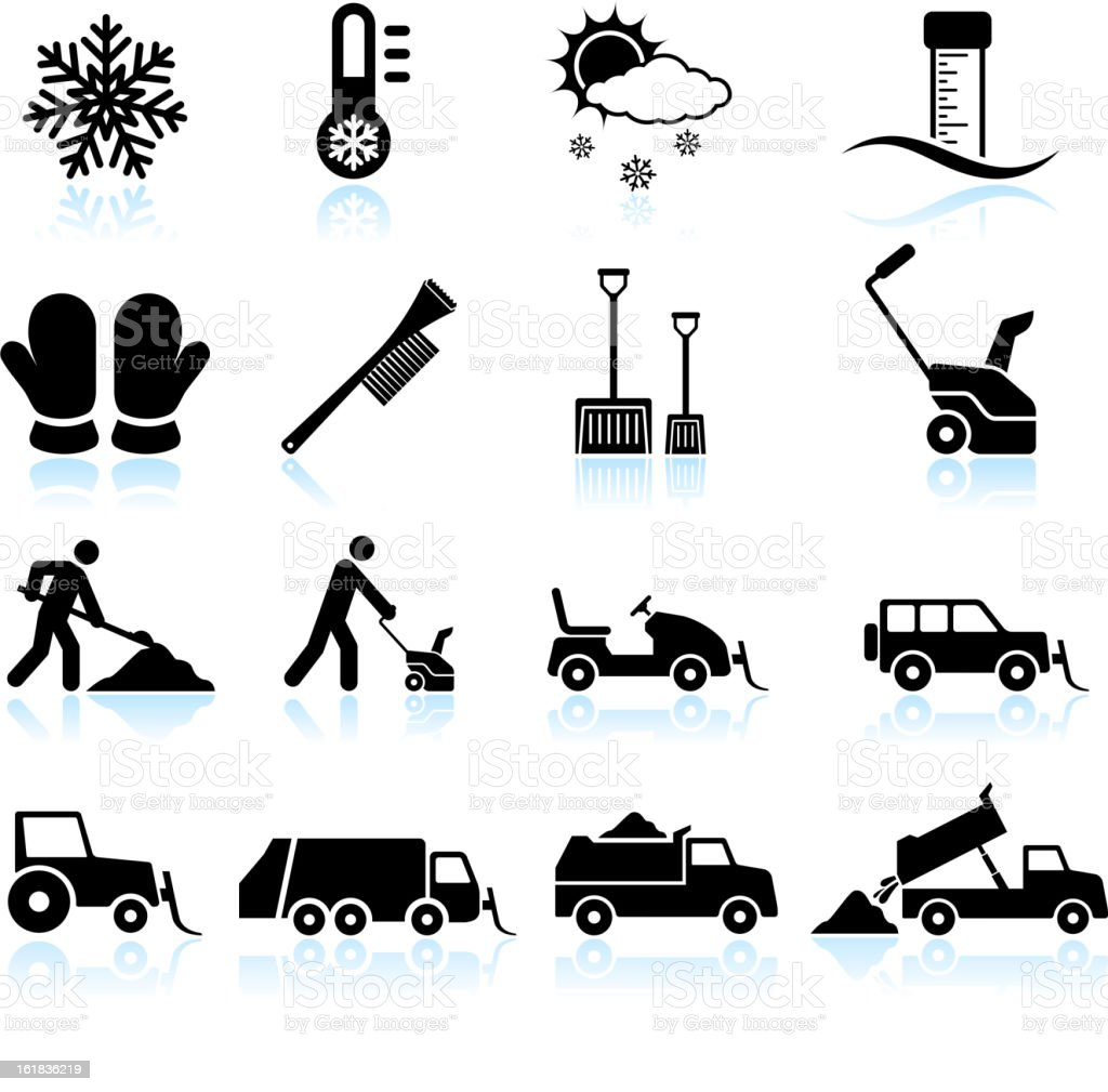 Snow Storm and Removal black & white icon set vector art illustration