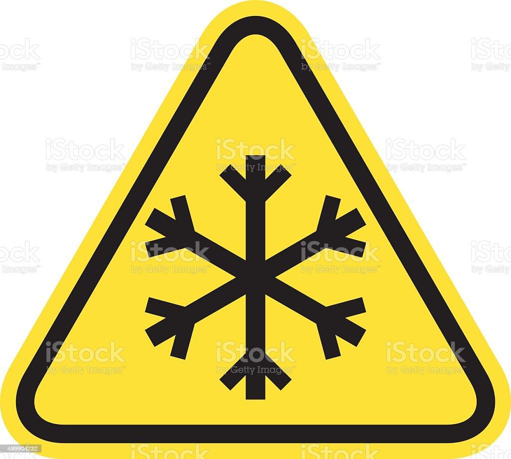 Snow warning sign vector art illustration