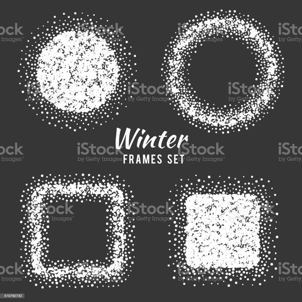 Snow winter frames vector set vector art illustration