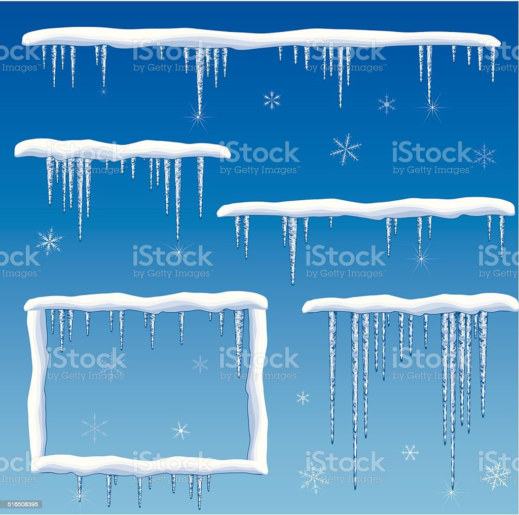 snow with icicles vector art illustration