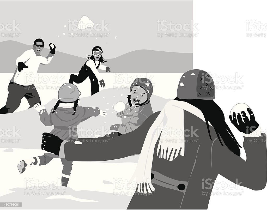 Snowball Fight royalty-free stock vector art