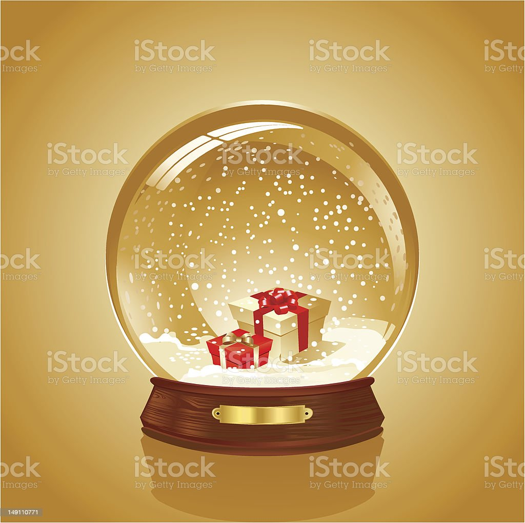 Snowball with gift box vector art illustration