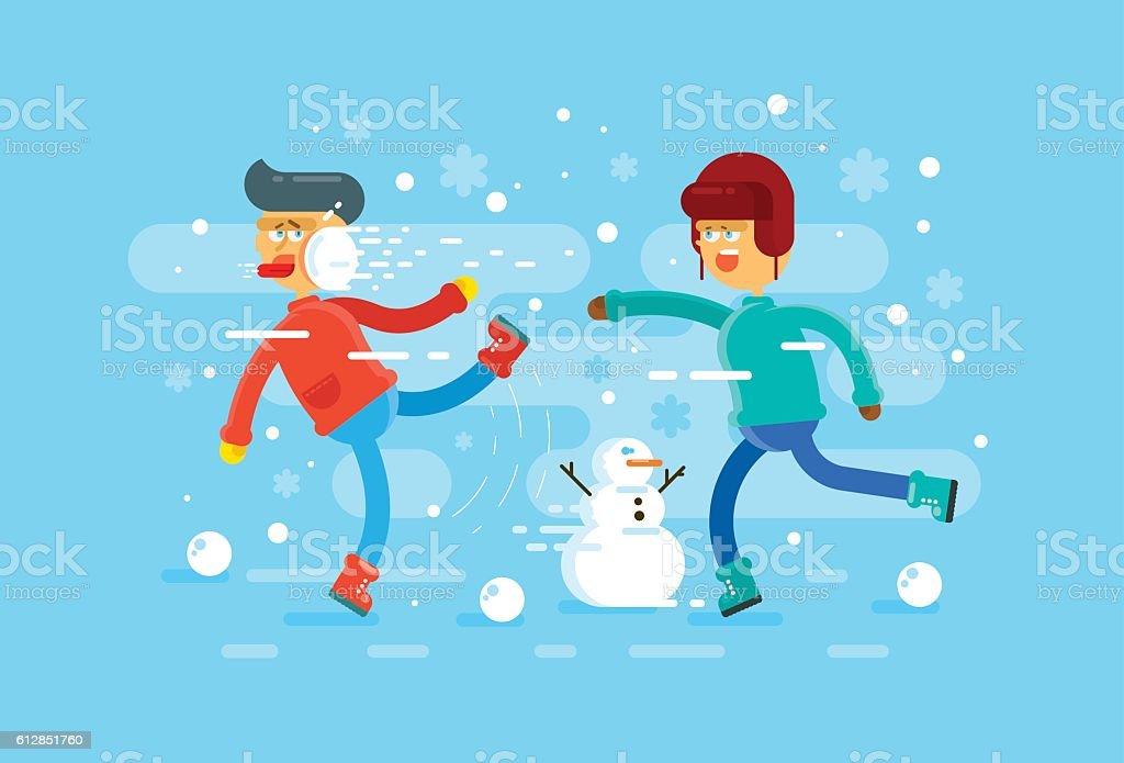 snowballs vector art illustration