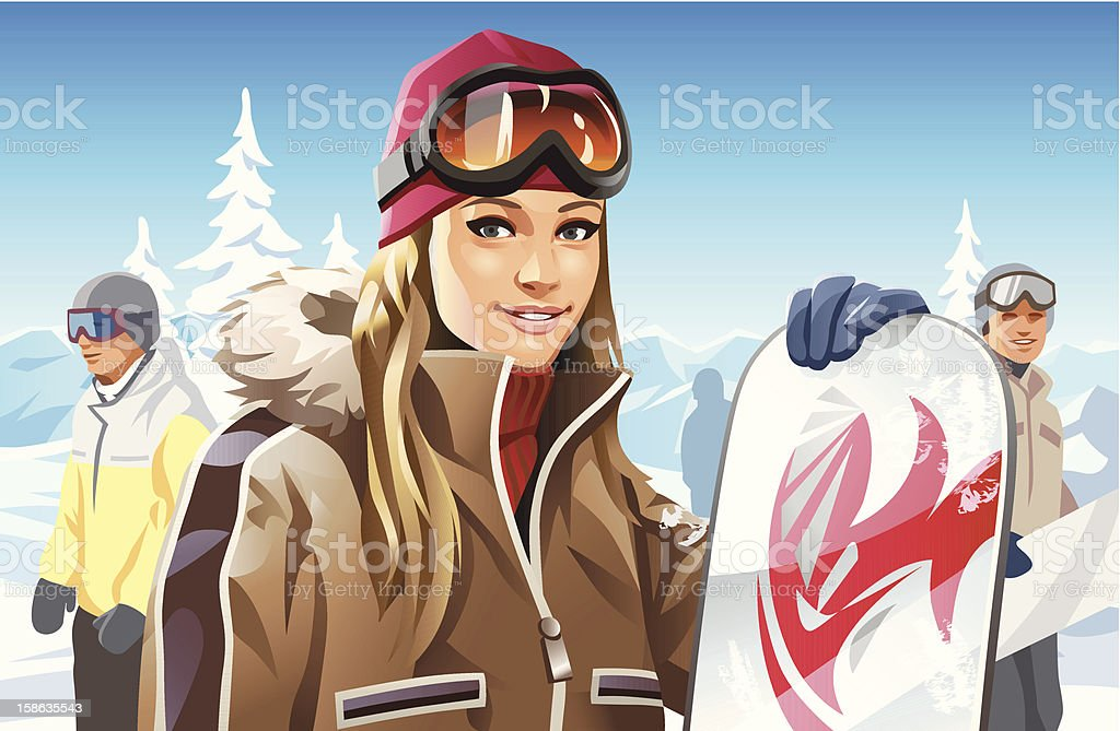 Snowboard Girl vector art illustration