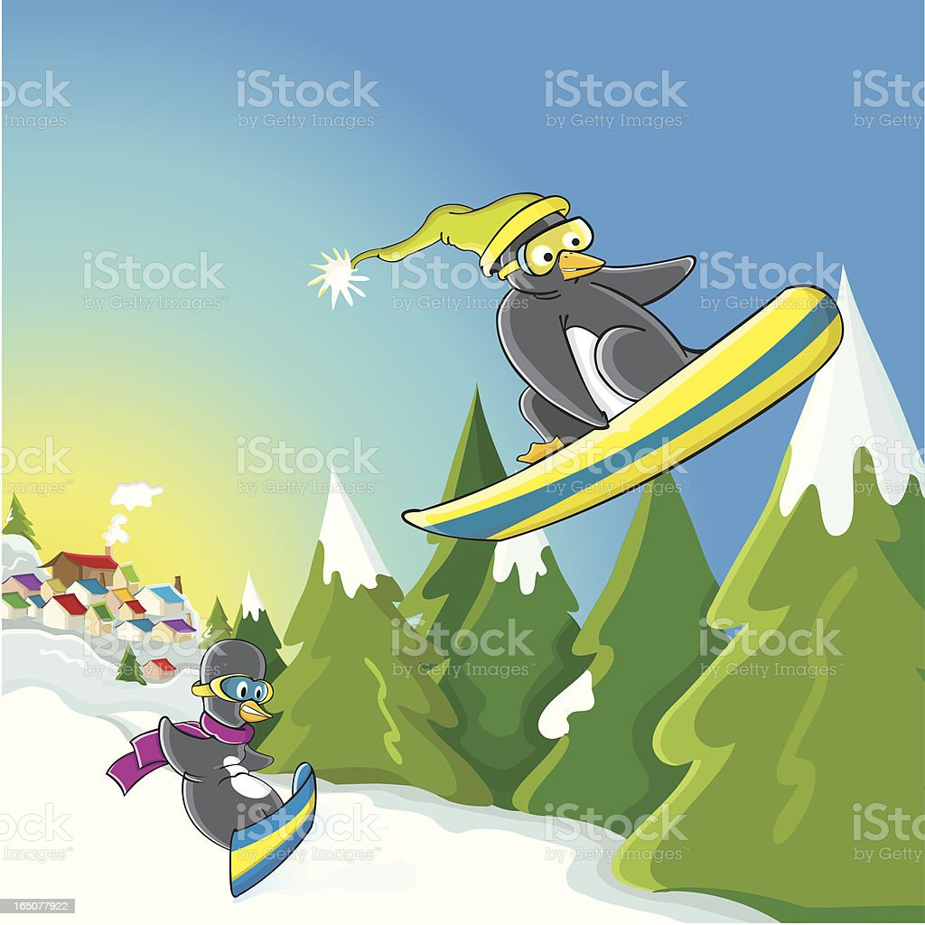 Snowboard pinguins vector art illustration