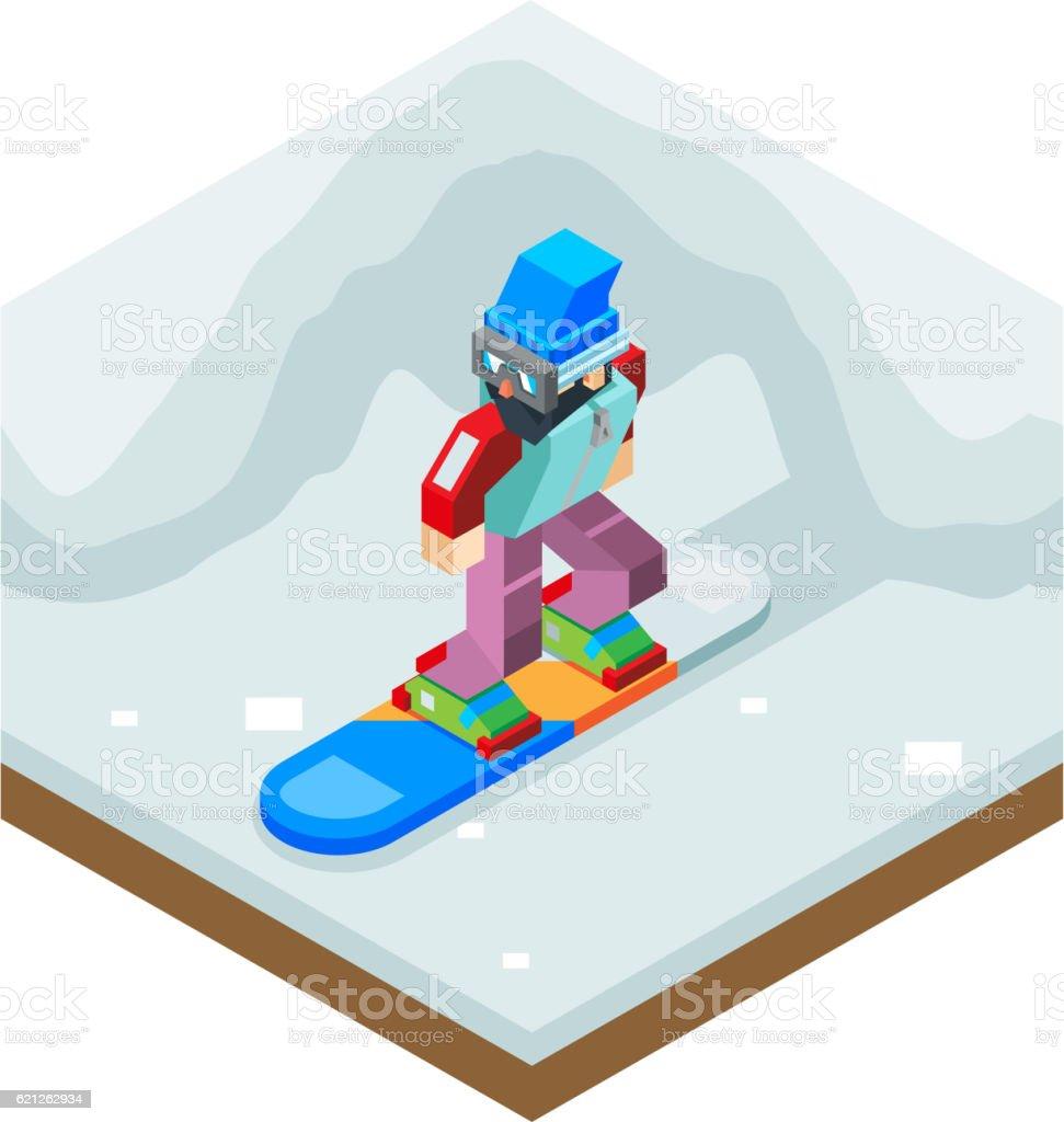 Snowboard Winter Activity Vacation Journey Flat Design Isometric 3d Vector vector art illustration