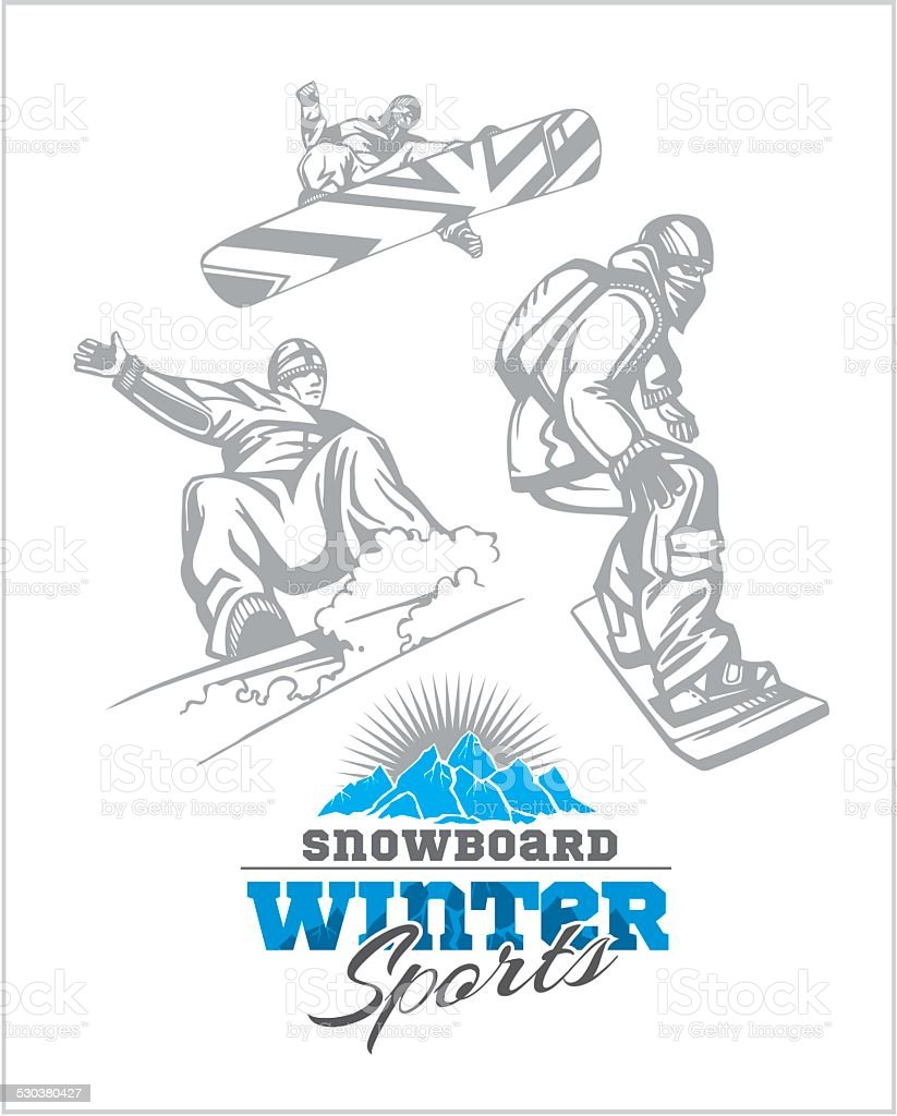 Snowboard - winter sport. Vector stock illustration. vector art illustration