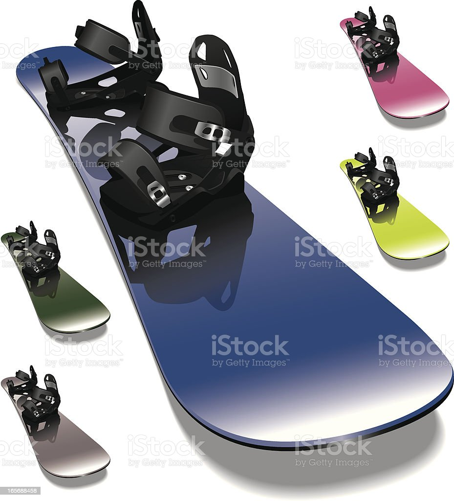 Snowboard with Detailed Bindings royalty-free stock vector art