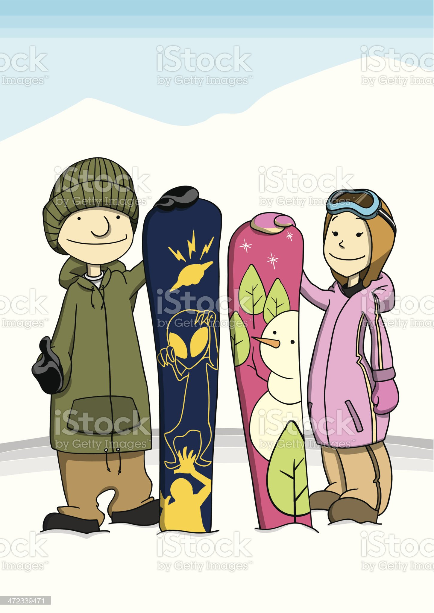 Snowboarder Couple royalty-free stock vector art