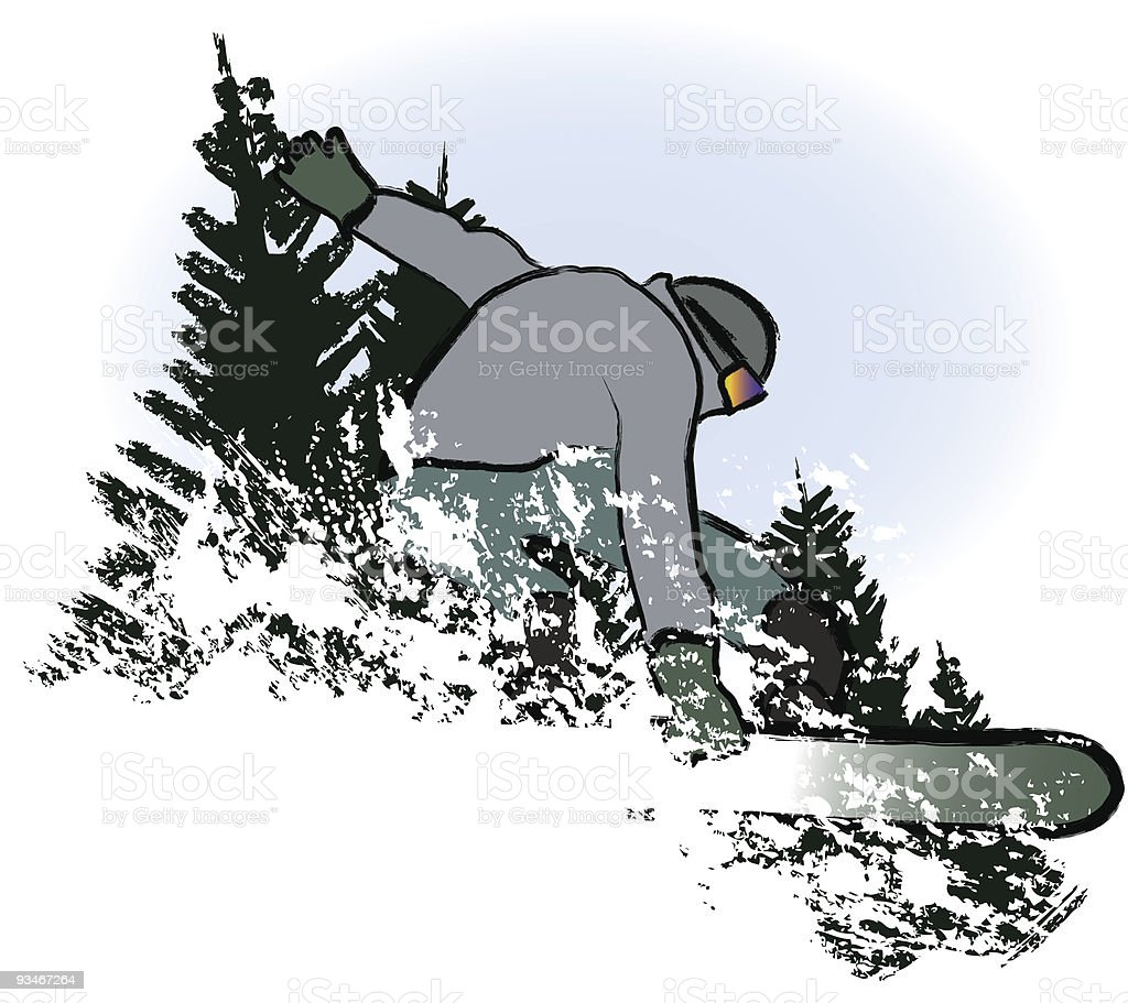 snowboarder in dry chalkcharcoal pencil and watercolor technique royalty-free stock vector art