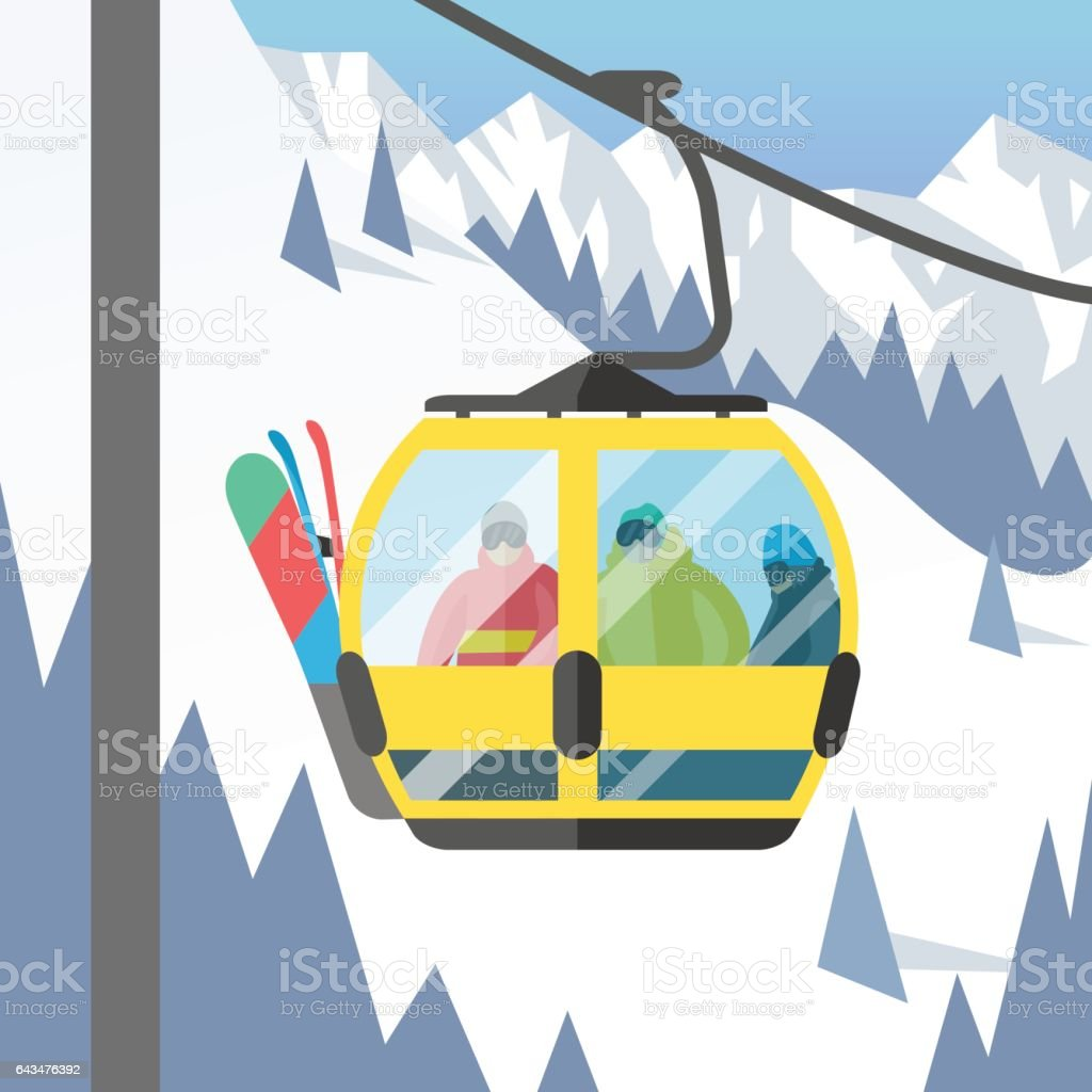 Snowboarder sitting in ski gondola and lift elevators winter sport resort snowboard people rest lifting jump vector illustration mountain vector art illustration