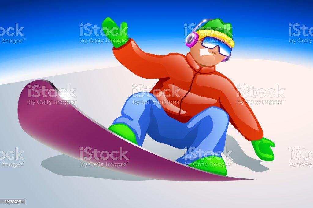 snowboarder vector art illustration
