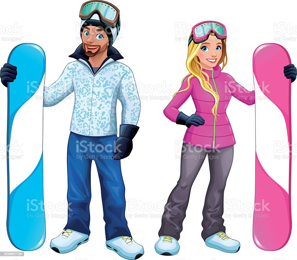 Snowboarders boy and girl vector art illustration