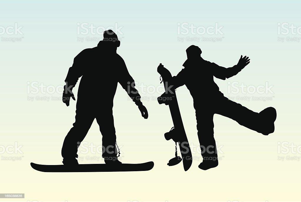 Snowboarders - Vector royalty-free stock vector art